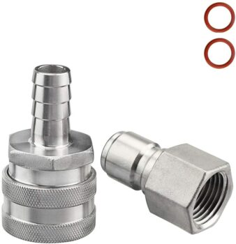 "FERRODAY Stainless Steel Quick Disconnect Set 1/2 NPT Female Disconnect 1/2"" Barb Brewing Quick Disconnect For Wort Pumps for Wort Chiller Connectors for Ball Valve Hose Fitting & O-rings"