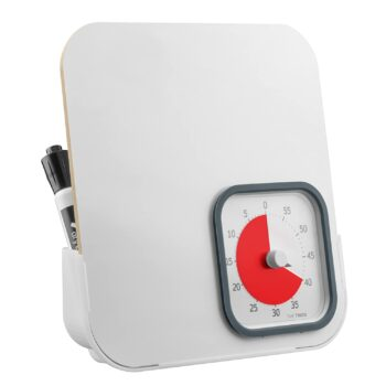 Time Timer MOD with Dry Erase Board — 60-Minute Student Visual Dial Timer with Small Desk Reminder Whiteboard — For Daily Task Listing, Classroom and Office Reminder, Homeschooling for Kids and Adults