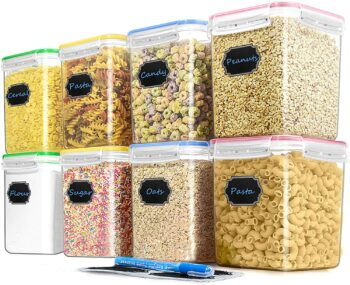 Cereal Container Food Storage Containers, Blingco Set of 8 (2.5L/84.55oz) Airtight Dry Food Storage Containers with Lids - BPA Free Plastic for Flour, Sugar, Cereal and Pantry Storage Containers