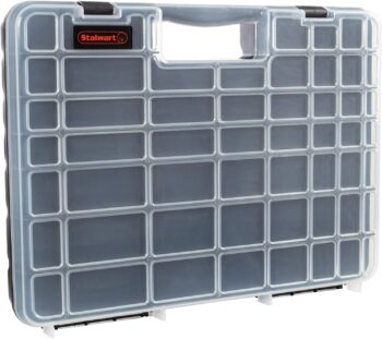 Stalwart - 75-ST6073 Portable Storage Case with Secure Locks and 55 Small Bin Compartments for Hardware, Screws, Bolts, Nuts, Nails, Beads, Jewelry and More by Black