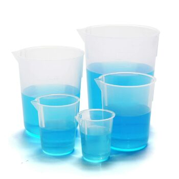 ULAB Scientific Plastic Beaker Set, 5 Sizes 50ml 100ml 250ml 500ml 1000ml, Stackable with Spout, Molded Graduation, UBP1001