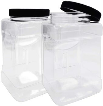 2 Pack 98oz/2900ml Clear Plastic Storage Containers Jars with Black Lids Empty Square Plastic Containers,Air Tight Wide Mouth Container with Easy Grip Handles for Kitchen & Household