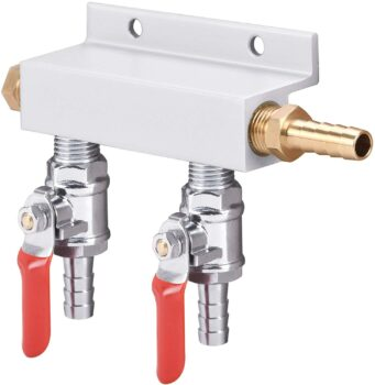 2-Way Gas Manifold CO2 Distributor Manifold 5/16 inch Barb/Stem Splitter Beer Integrated Check Valves Homebrew Beer Making Brewing Tool