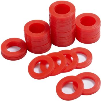 PurDream Outdoor Garden Hose Silicone Washer Gasket, 40Pcs Red O-Rings Silicone Washer Gasket Combo Pack for 3/4 Inch Garden Hose and Water Faucet