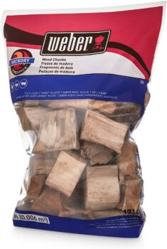 Weber 17148 Hickory Wood Chunks, 350 cu. in. (0.006 Cubic Meter), 4 lb