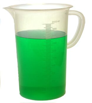"Eisco Labs 2000ml Polypropylene""Pitcher"" - Beaker with Handle and Spout, 20ml Graduations"