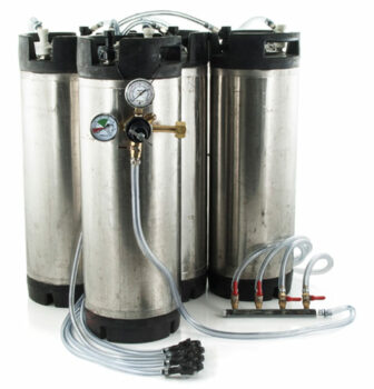 5 Gallon Ball Lock Keg System w/ Picnic Faucets, 4 USED Kegs (#9)