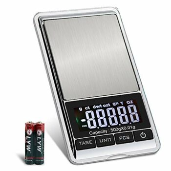 Digital Precision Gram Scale, 0.001oz/0.01g 500g Mini Pocket Scale, Portable Electronic Weight Jewelry Scales, Tare, Auto Off, Stainless Steel, White Backlit Display(Battery Included)