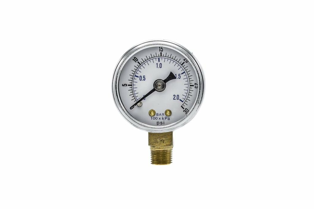 "PIC Gauge 101D-204C 2"" Dial, 0/30 psi Range, 1/4"" Male NPT Connection Size, Bottom Mount Dry Pressure Gauge with a Black Steel Case, Brass Internals, Chrome Bezel, and Plastic Lens"