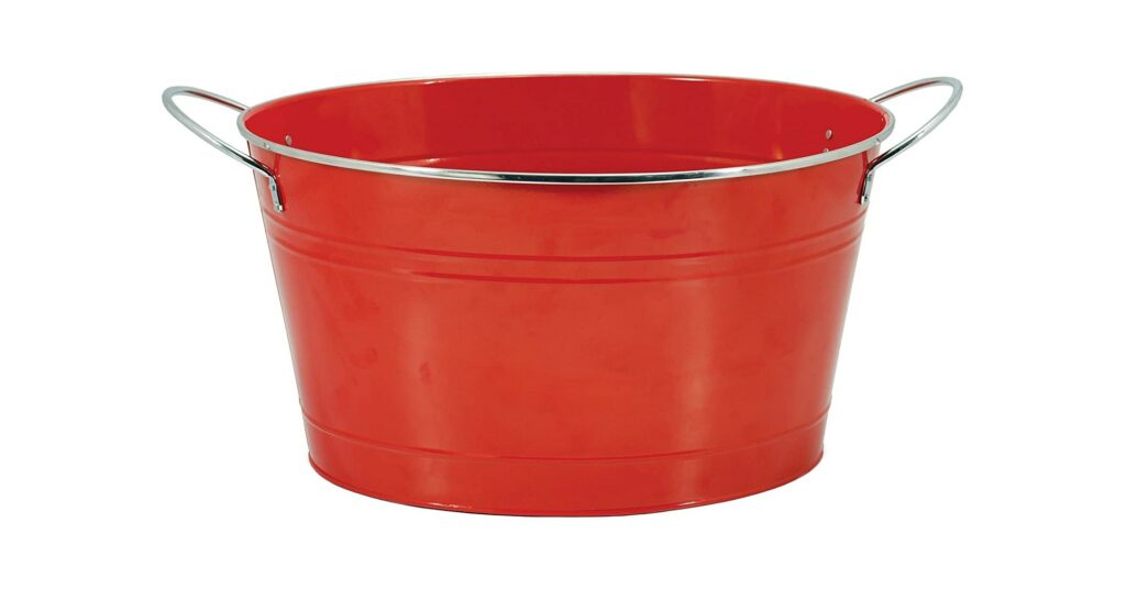 """Twine Big Red Ice Bucket, Galvanized Metal Drink Tub, Country Home Wine And Beer Chiller, Holds 4.5 Gallons, 19.75"""" x 12.8 x 9"""""""