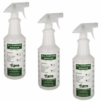 32 oz All-Purpose Spray Bottles - Natural HDPE Plastic w/Trigger Sprayer - Commercial Grade, Industrial or Home Use for Cleaning, Chemicals, Garden - Made in USA (3 Pack, Green)