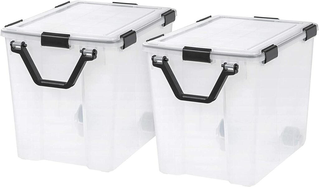 IRIS USA UCB-LT WEATHERTIGHT Storage Box with Handle, 103 Qt. (2-Pack), Clear, 2 Count