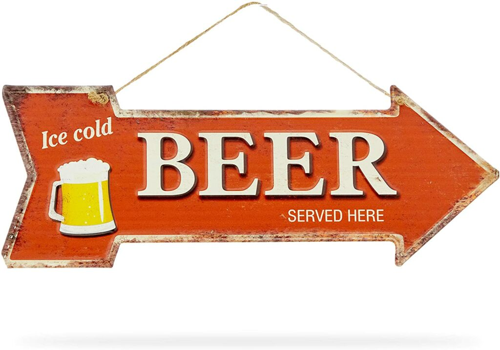 Okuna Outpost Retro Metal Sign for Bars, Ice Cold Beer (15.7 x 5.5 in, Red)