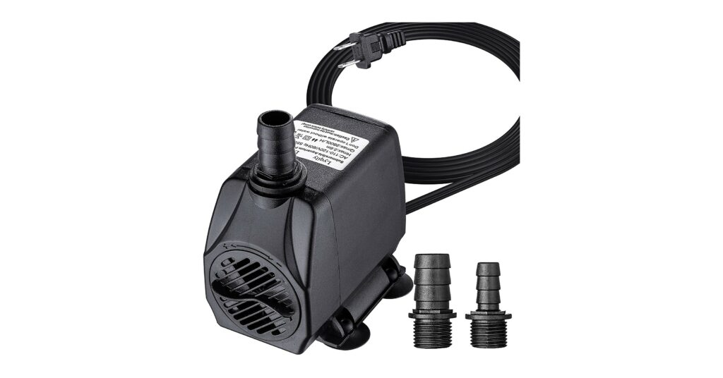 Lyqily 740GPH Water Pump Ultra Quiet 55W Submersible Fountain Aquarium Fish Pond Hydroponic Pump with 8.5ft High Lift, 5.9ft Two-pin Plug Power Cord, 2 Nozzles