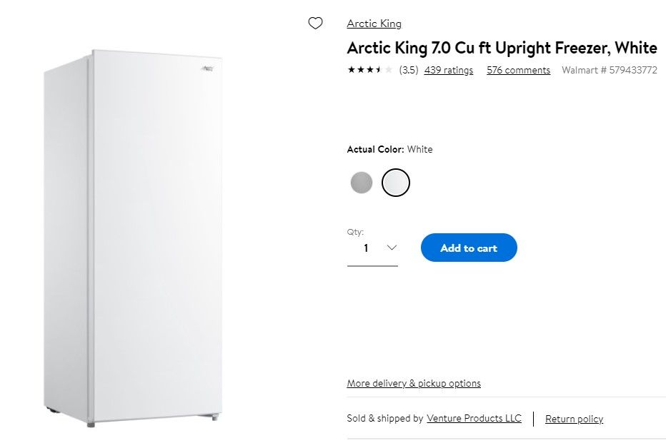 Arctic King 7.0 Cu ft Upright Freezer, White