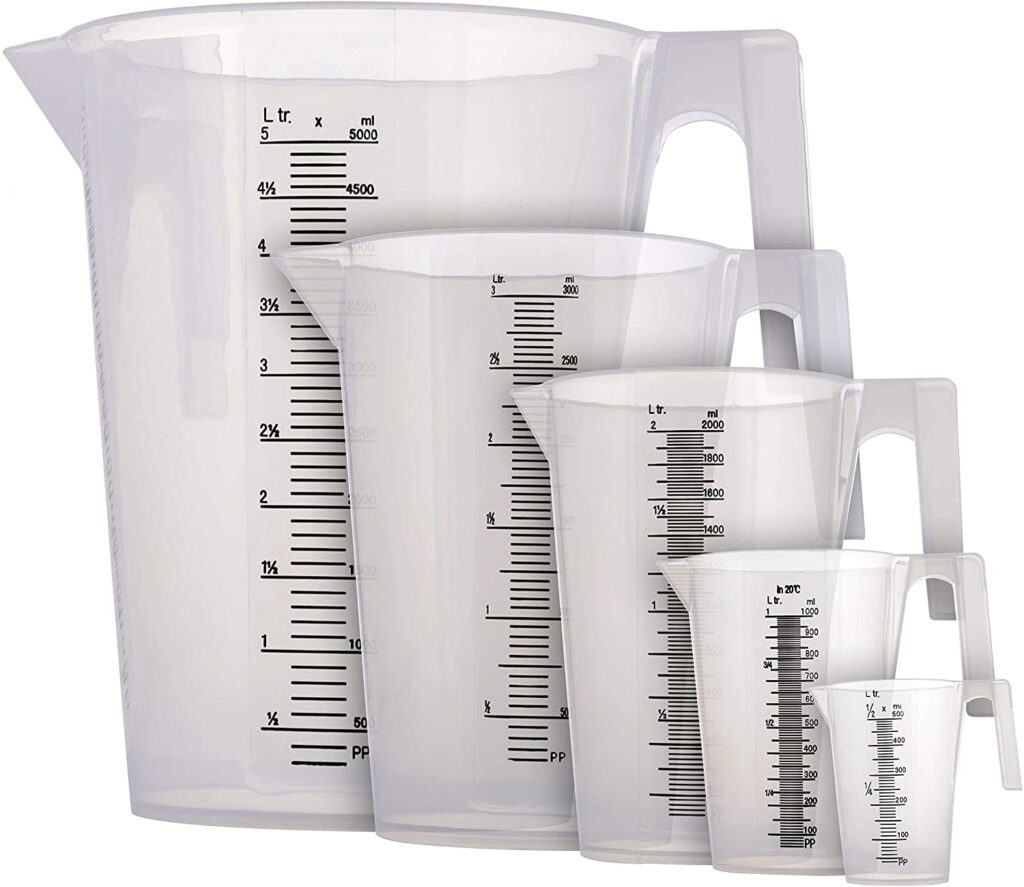 TCP Global 5 Piece Set of Plastic Graduated Measuring and Mixing Pitchers - 1/2, 1, 2, 3, & 5 Liter Sizes - Pouring Cups, Measure & Mix Paint, Resin, Epoxy, Kitchen Cooking Baking Ingredients