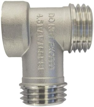 304 Stainless Steel Carbonation Cap Tee Piece For Brewing to attach both gas and liquid