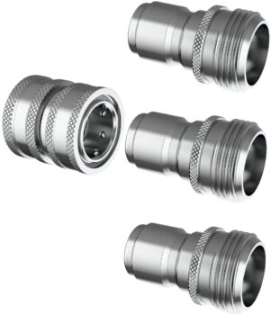 ESSENTIAL WASHER Garden Hose Quick Connect Hose Fittings - 3/4 Inch Stainless Steel Water Hose Quick Connect Set - Garden Hose Connector Set Great for RV or Pressure Washer