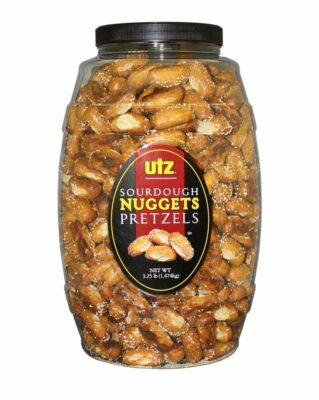 Roll over image to zoom in Utz Sourdough Nuggets Pretzels – 52 oz. Barrel – Bite-Size Pretzels with Classic Sourdough Flavor, Perfectly Salted with Zero Cholesterol per Serving