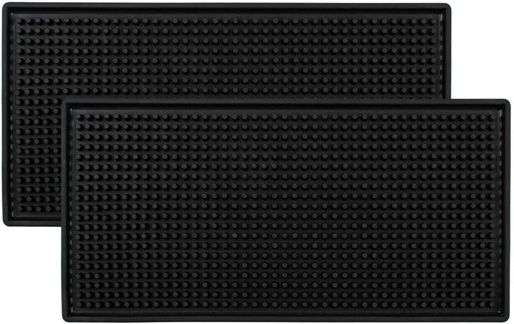 """Tebery Black Mat 12"""" x 6"""" Rubber Bar Service Spill Mat ( 2 Pack )"""