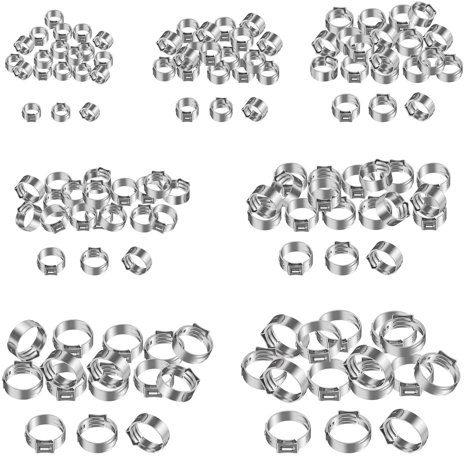 Proster 130pcs Hose Clamps Rings 7-21mm 304 Single Ear Stepless Hose Clamps Assortment Stainless Steel Cinch Clamp Rings