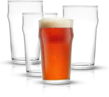 JoyJolt Grant Pint Glasses Set of 4 (FOUR) 1.2 Pint Glass Capacity in a Traditional Pub Drinking Glasses Design. Oversized Beer Glasses Set for Guinness, Stout, and Craft Beer Glasses by the Pint!