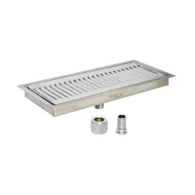 Krome 12″ x 5″ Flush Mounted Drip Tray – Brushed Stainelss – With Drain-C139