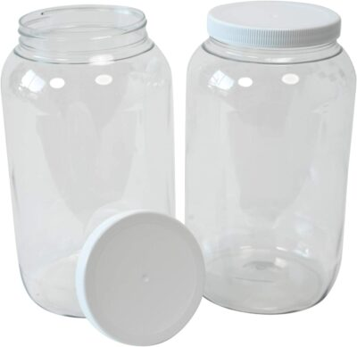 CSBD 1 Gallon Clear Plastic Jars With Ribbed Liner Screw On Lids, BPA Free, PET Plastic, Made In USA, Bulk Storage Containers 2 Pack (1 Gallon)
