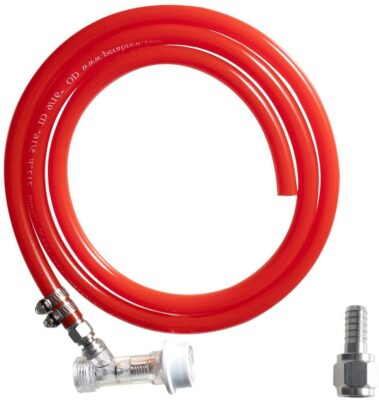 LUCKEG Ball Lock Gas Line Assembly Include Check Valve Clear Ball Lock Disconnect, 5ft Red Gas Line, Swivel Nut, Free Worm Clamps for Homebrewing and Wine Making