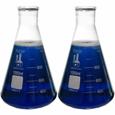 1000ml Narrow Mouth Erlenmeyer Flask, 3.3 Borosilicate Glass, Karter Scientific (Pack of 2)