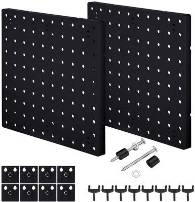 HJW 2 Pack Pegboard Wall Mount Display Black, Pegboard Wall Panel Kits Pegboard Organizer Accessories, 2 Installation Methods to The Wall for Garage Kitchen Bathroom Office