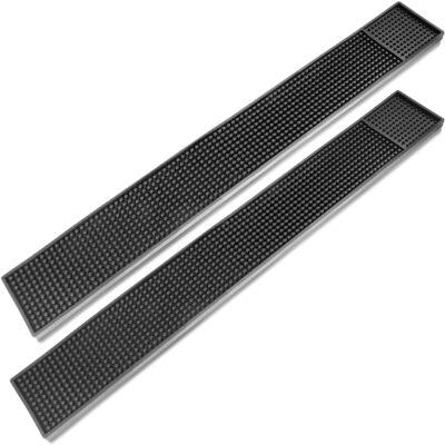 """ProTensils Rail Bar Mat 23"""" x 3.25"""" Rubber Black Bar Service Spill Mats for Counter-Top (2 Pack)"""
