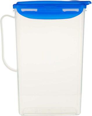 LOCK & LOCK Aqua Fridge Door Water Jug with Handle BPA Free Plastic Pitcher with Flip Top Lid Perfect for Making Teas and Juices, 2 Quarts