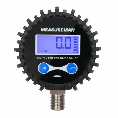 """Measureman 2-1/2"""" Dial Size Digital Air Pressure Gauge with 1/4'' NPT Bottom Connector and Protective Boot, 0-60psi, Accuracy 1%, Battery Powered, with LED Light"""