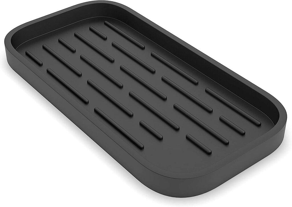 "ZAPPOWARE Silicone Sponge Holder - Kitchen Sink Organizer Caddy - Storage Tray for Dish Sponge, Soap Dispenser, Scrubber 9.6""x 4.9"""