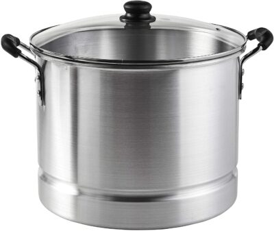 IMUSA USA Aluminum Steamer with Glass Lid 24-Quart, Silver