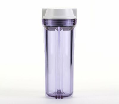 """Hydronix HF2-10CLWH12, 10"""" Clear Housing with White Flat Cap For RO & Filtration Systems, 1/2"""" Ports"""