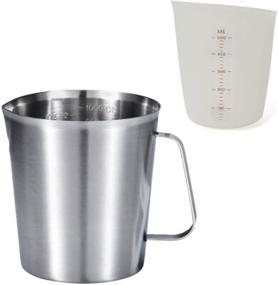 KSENDALO 1L Stainless Steel Measuring Cup with 500ML Silicone Measuring Cup Set, Measuring Cup Milk Frothing Pitcher 32oz/16oz, with ML Scale and Ounce Scale Markings with Handle