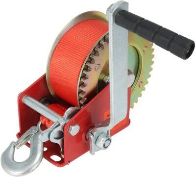 VZCY 1200lbs Capacity Heavy Duty Hand Winch,Nylon Strap Manual Portable Crank Winch for ATV Boat Trailer Truck Auto, Red