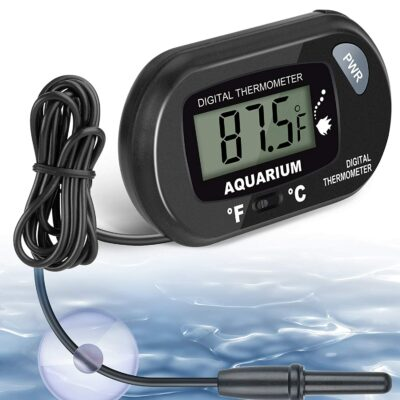 Aquarium Thermometer, Fish Tank Thermometer, Water Thermometer seachem Prime with LCD Display Fahrenheit/Celsius(℉/℃) for Vehicle Reptile Terrarium Fish Tank Refrigerator by AikTryee