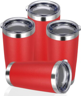Roll over image to zoom in VIDEO PEIZI 20oz Tumbler with lid, Stainless Steel Double Wall Vacuum Insulated Travel Mug, Durable Powder Coated Coffee Cup, Red, 4 Pack