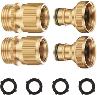 Riemex Garden Hose Quick Connector Set Solid Brass 3/4 inch GHT Water Fitings Thread Easy Connect No-Leak Male Female Value (2, External Thread Quick Connector) EQC-2