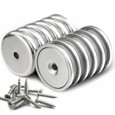 DIYMAG Neodymium Round Base Cup Magnet,100LBS Strong Rare Earth Magnets with Heavy Duty Countersunk Hole and Stainless Screws for Refrigerator Magnets,Office,Craft,etc-Dia 1.26 inch-Pack of 12