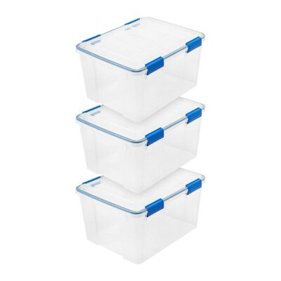 IRIS USA WSB Air Waterproof/Weather Tight Plastic Storage Bin Tote Organizing Container with Durable Lid and Seal and Secure Latching, 44 Quart, Clear with Blue Buckles, 3 Count