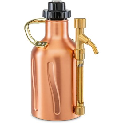 Ivation Carbonated Growler, Pressurized Stainless Steel Beer Keg & Dispenser, Double-Walled Insulated, Pressure Control Cap, Tap Pour Spout, [2] CO2 Cartridges, Portable Handle, (64oz.)