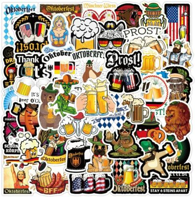 50 pcs Waterproof Funny Beer Stickers Vinyl Decals Pack for Cooler Scrapbooking Fridge Water Bottles Hydroflask Yeti Refrigerator Laptop Wall Cars Cornhole Boards Vehicles (October Beer Stickers)