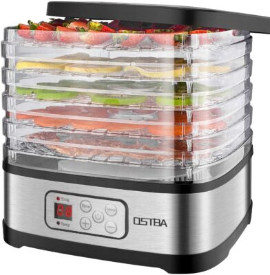 OSTBA Food Dehydrator Machine Adjustable Temperature & 72H Timer, 5-Tray Dehydrators for Food and Jerky, Fruit, Dog Treats, Herbs, Snacks, LED Display, 240W Electric Food Dryer, Recipe Book
