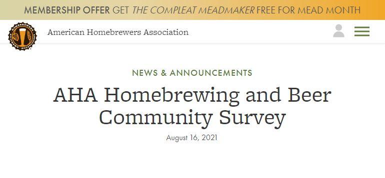 AHA Homebrewing and Beer Community Survey