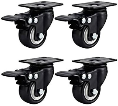 """Swivel Caster Wheels Rubber Base with Top Plate & Bearing Heavy Duty with Total Lock Brake Pack of 4 Black by Online Best Service (2"""" With Brake)"""