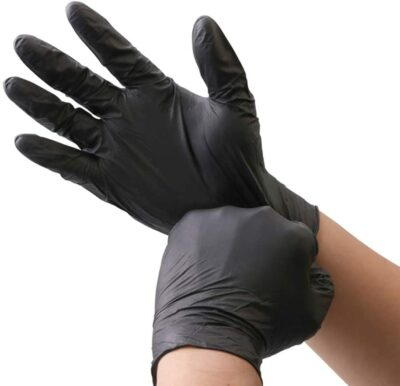 Roll over image to zoom in KOMI 100Pcs Disposable Nitrile Gloves for Exam Gloves Powder Free Kitchen Food Safety Cleaning(Black, M-100PCS)